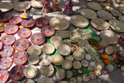 Baskets on display at the weekly basket market, Axum