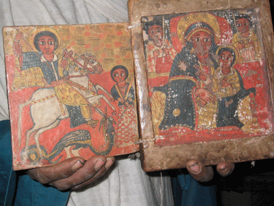 Ancient hand-illustrated bible in a church in Lalibela.