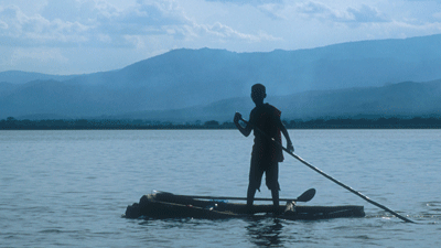 A boy fishes on Lake Chamo.