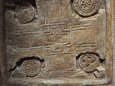 Carved ceiling of Adi Kesho church in Tigray.