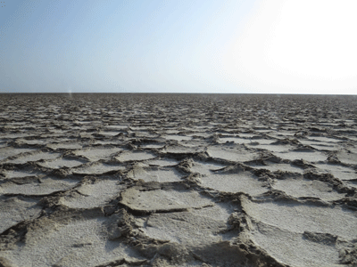 Salt lake bed in the Danakil Depression.
