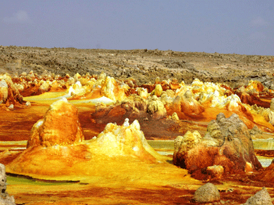 Mineral deposits in the Danakil Depression.