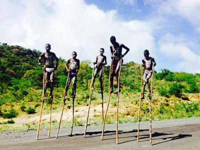 Boys from the Dassanech tribe on stilts.