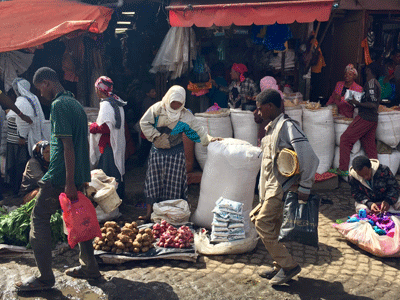 The busy Mercato in Addis Ababa.