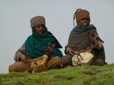 Shepherds in the Simien Mountains National Park.