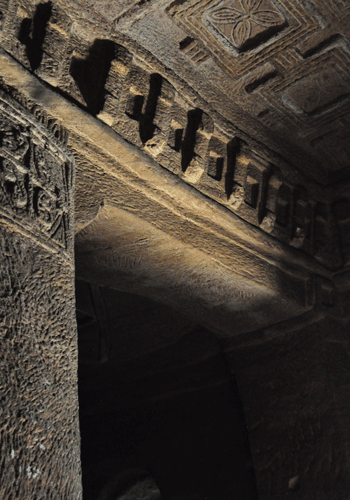 Interior of a rock-hewn church in Tigray.
